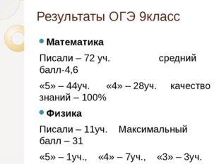 Результаты ОГЭ 9класс Математика Писали – 72 уч. средний балл-4,6 «5» – 44уч.