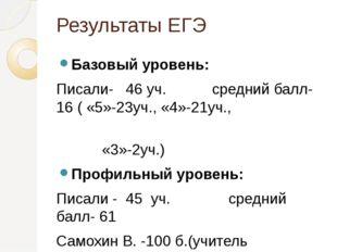 Результаты ЕГЭ Базовый уровень: Писали- 46 уч. средний балл- 16 ( «5»-23уч.,