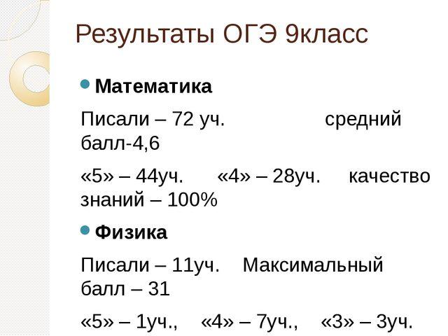 Результаты ОГЭ 9класс Математика Писали – 72 уч. средний балл-4,6 «5» – 44уч....