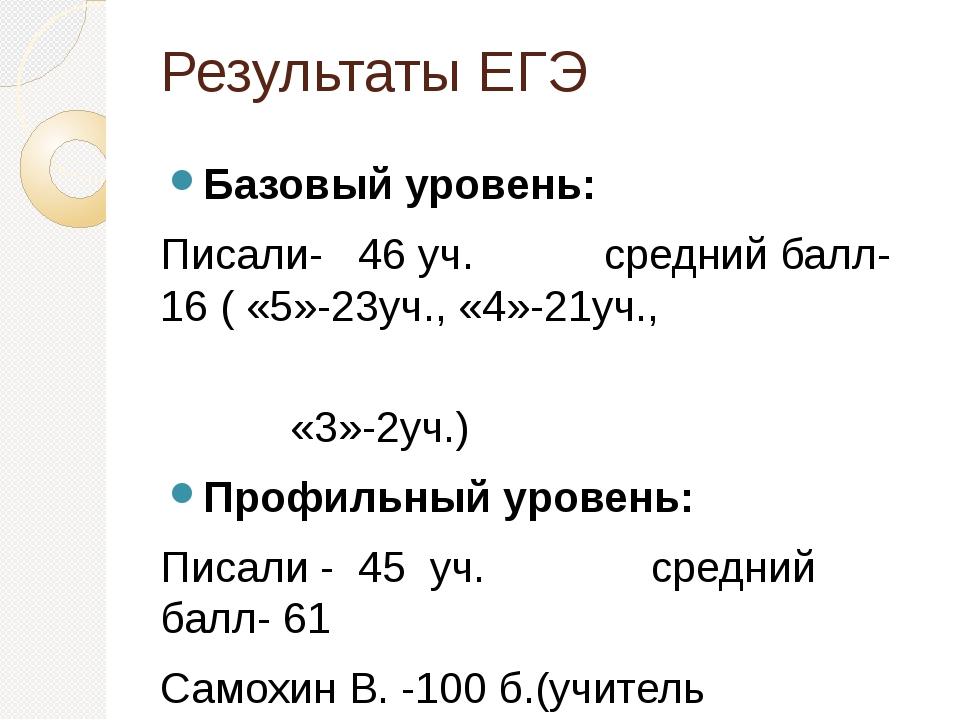 Результаты ЕГЭ Базовый уровень: Писали- 46 уч. средний балл- 16 ( «5»-23уч.,...