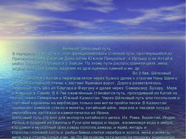 Великий Шёлковый путь. В середине 1 тыс. до н.э. стал функционировать Степно...