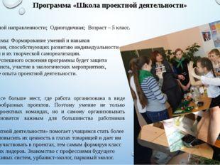Программа «Школа проектной деятельности» Социальной направленности; Одногодич