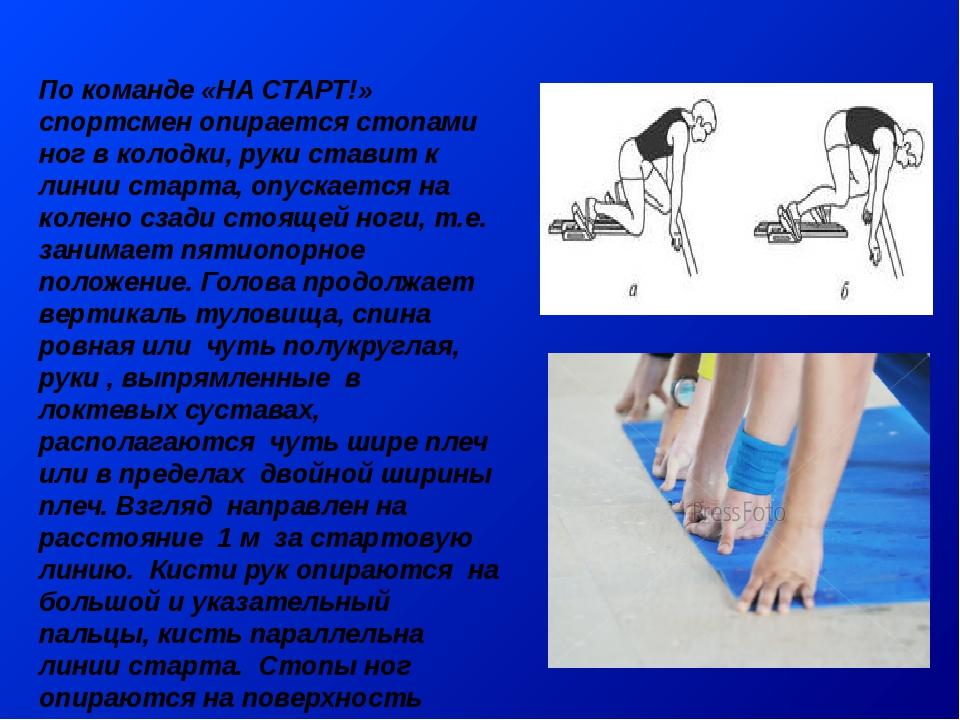 По команде «НА СТАРТ!» спортсмен опирается стопами ног в колодки, руки ставит...