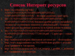 Список Интернет ресурсов https://ru.wikipedia.org/wiki/%D0%A1%D1%82%D1%80%D0%