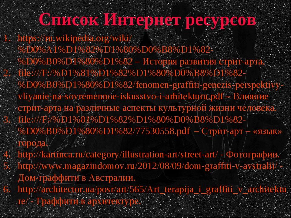 Список Интернет ресурсов https://ru.wikipedia.org/wiki/%D0%A1%D1%82%D1%80%D0%...