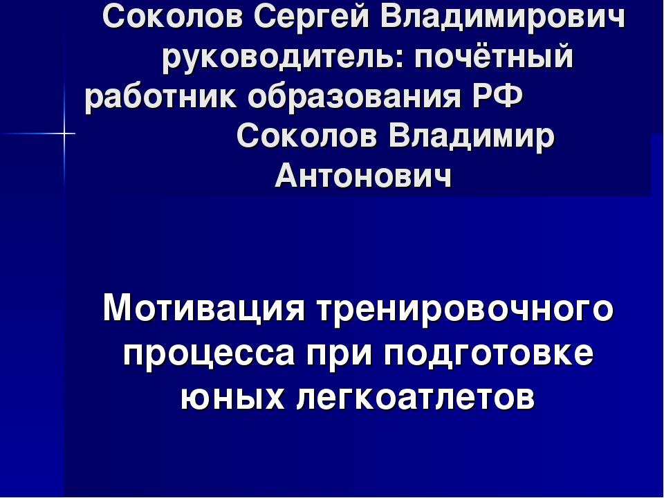Соколов Сергей Владимирович руководитель: почётный работник образования РФ Со...