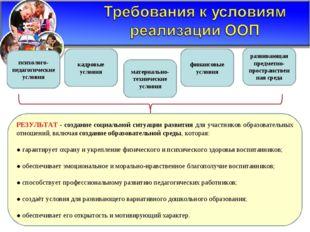 РЕЗУЛЬТАТ - создание социальной ситуации развития для участников образователь
