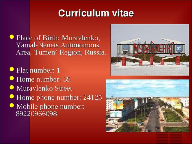 Curriculum vitae Place of Birth: Muravlenko, Yamal-Nenets Autonomous Area, Tu...