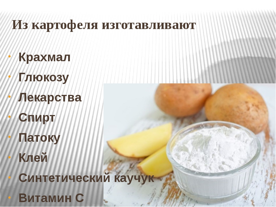 Из картофеля изготавливают Крахмал Глюкозу Лекарства Спирт Патоку Клей Синтет...