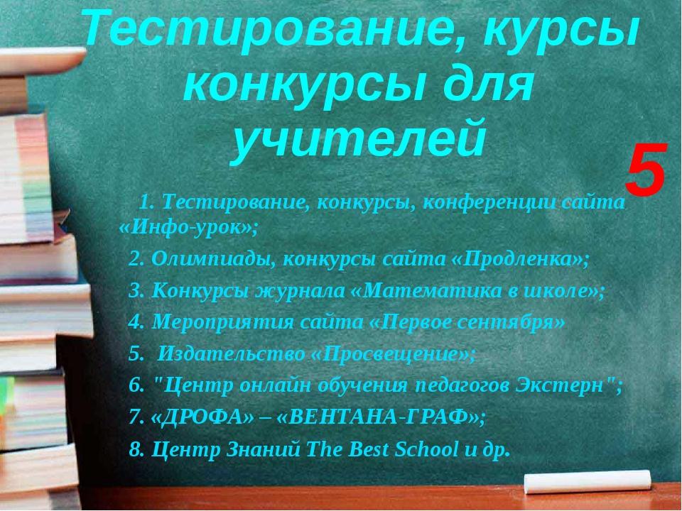 Тестирование, курсы конкурсы для учителей 1. Тестирование, конкурсы, конферен...