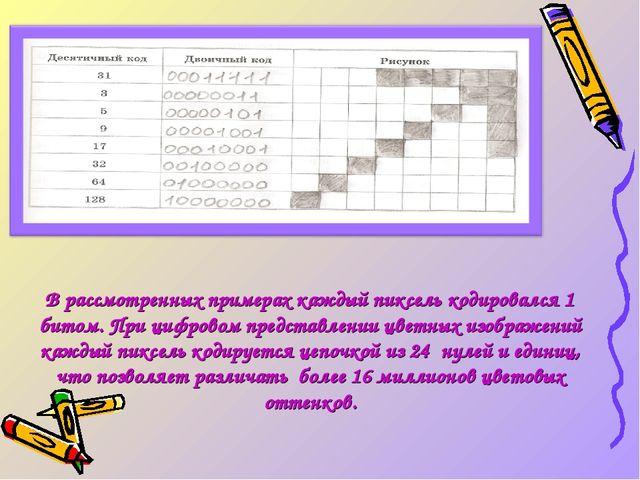 В рассмотренных примерах каждый пиксель кодировался 1 битом. При цифровом пре...