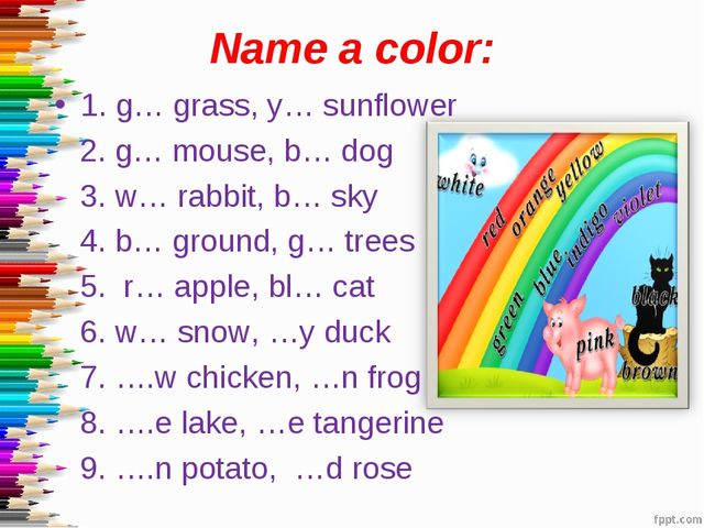 Name a color: 1. g… grass, y… sunflower 2. g… mouse, b… dog 3. w… rabbit, b…...