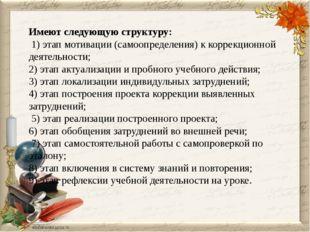 Имеют следующую структуру: 1) этап мотивации (самоопределения) к коррекционн