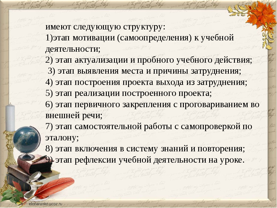 имеют следующую структуру: 1)этап мотивации (самоопределения) к учебной деят...