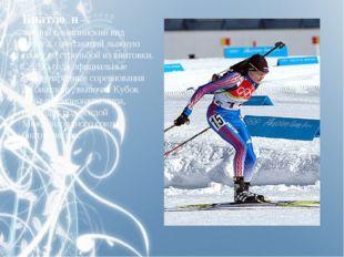 Биатло́н— зимнийолимпийский вид спорта, сочетающий лыжную гонку со стрельбо