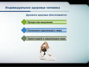 Духовное здоровье обеспечивается: Индивидуальное здоровье человека Процессом