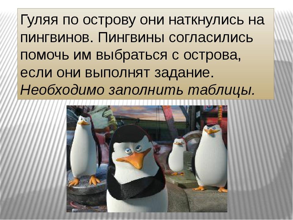 Гуляя по острову они наткнулись на пингвинов. Пингвины согласились помочь им...