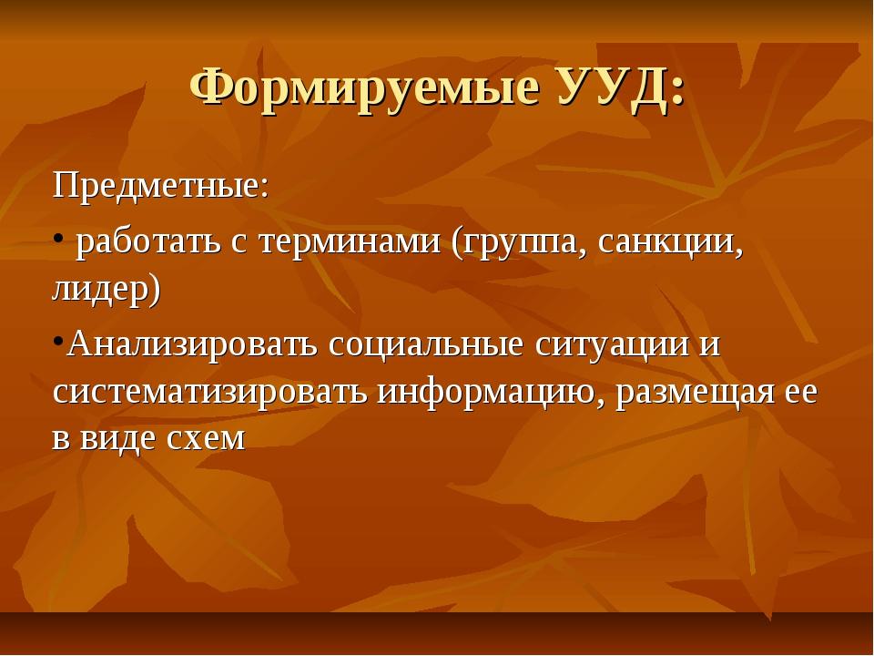 Формируемые УУД: Предметные: работать с терминами (группа, санкции, лидер) Ан...