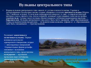 Вулканы центрального типа Формы вулканов центрального типа зависят от состава