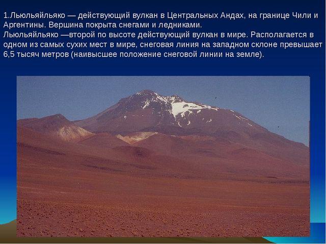 1.Льюльяйльяко — действующий вулкан в Центральных Андах, на границе Чили и Ар...