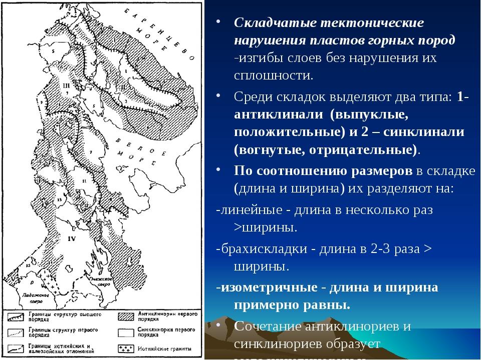 Складчатые тектонические нарушения пластов горных пород -изгибы слоев без нар...