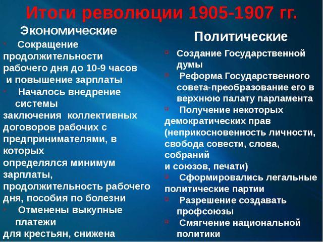 Итоги революции 1905-1907 гг. Экономические Сокращение продолжительности рабо...