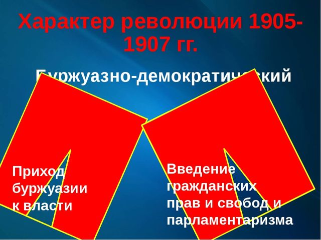 Характер революции 1905-1907 гг. Буржуазно-демократический Приход буржуазии к...