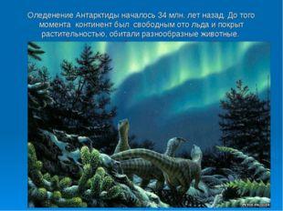 Оледенение Антарктиды началось 34 млн. лет назад. До того момента континент б
