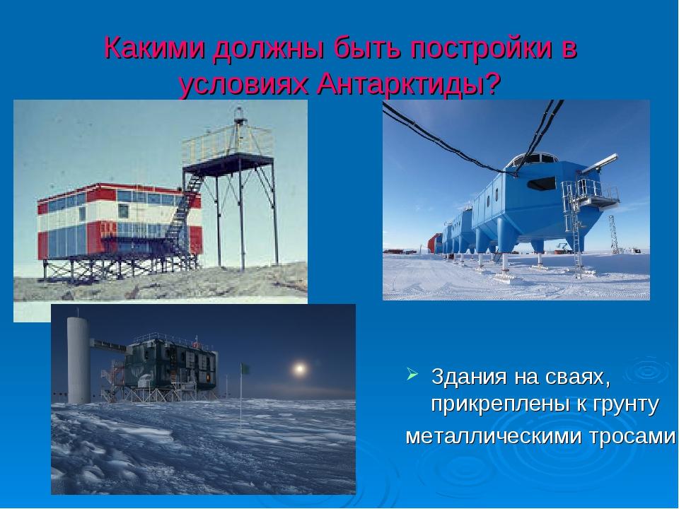 Какими должны быть постройки в условиях Антарктиды? Здания на сваях, прикрепл...