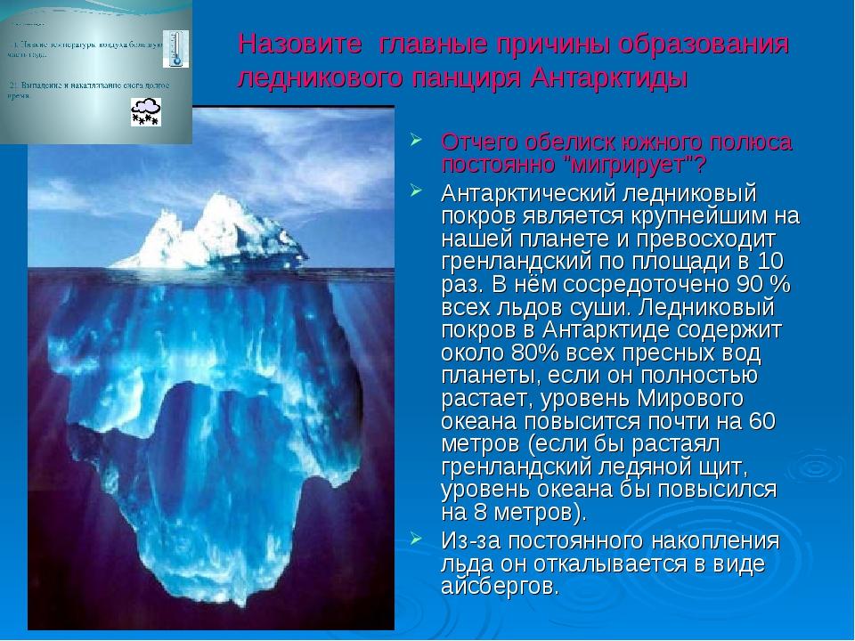 Назовите главные причины образования ледникового панциря Антарктиды Отчег...