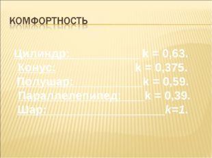 Цилиндр: k = 0,63. Конус: k = 0,375. Полушар: k = 0,59. Параллелепипед: k = 0