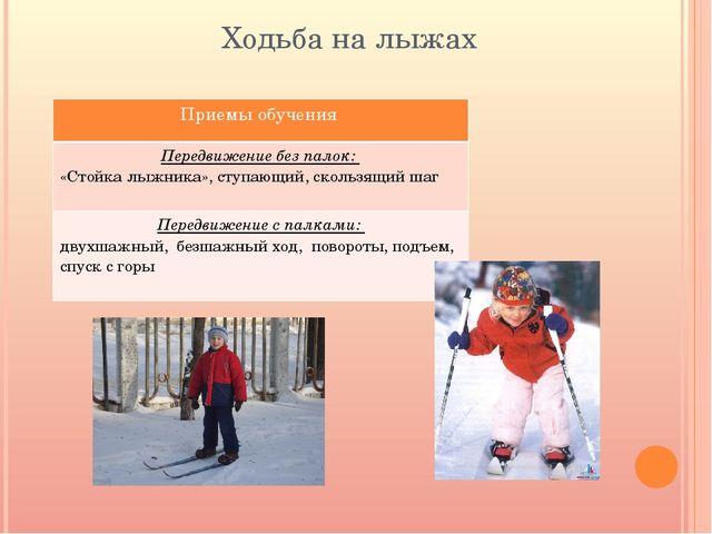 Ходьба на лыжах Приемы обучения Передвижение без палок: «Стойка лыжника»,ступ...