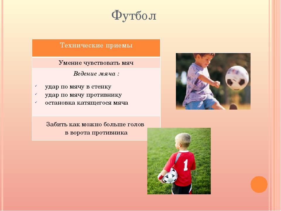 Футбол Техническиеприемы Умениечувствовать мяч Ведение мяча : удар по мячу в...