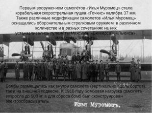 Первым вооружением самолётов «Илья Муромец» стала корабельная скорострельная