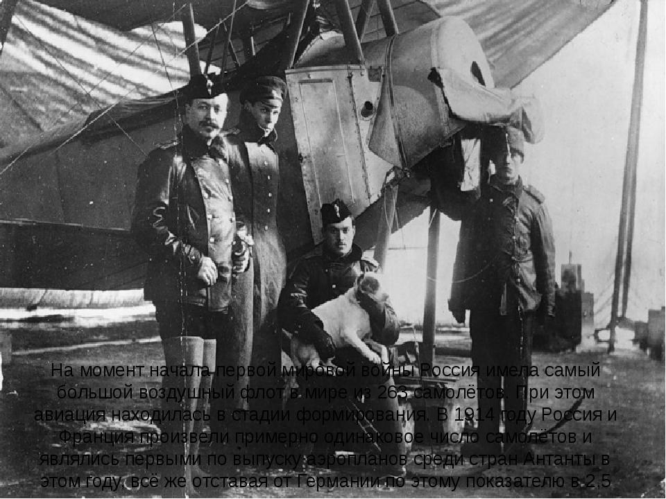 На момент начала первой мировой войны Россия имела самый большойвоздушный фл...