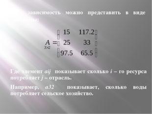 Эту зависимость можно представить в виде матрицы: Где элемент aij показывает