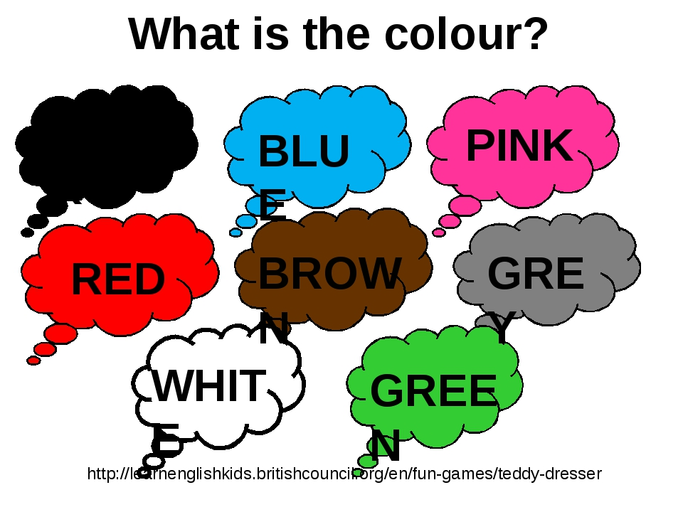 What is the colour? BLACK BLUE PINK RED BROWN GREY WHITE GREEN http://learnen...