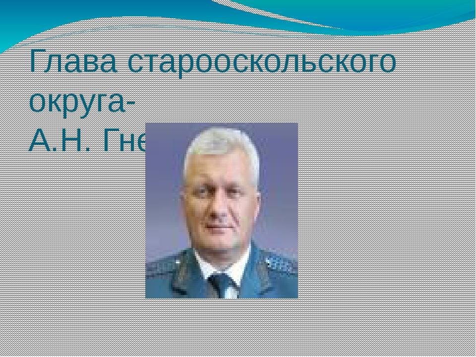 Глава старооскольского округа- А.Н. Гнедых