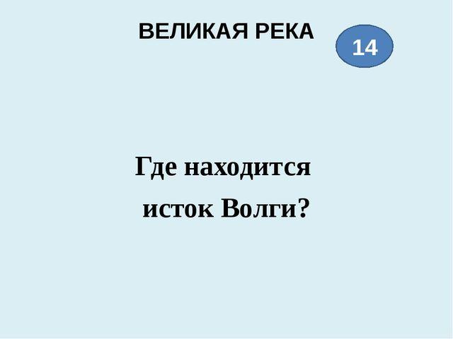 ВЕЛИКАЯ РЕКА Где находится истокВолги? 14