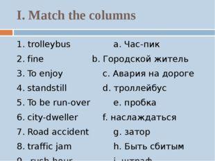 I. Match the columns 1. trolleybusa. Час-пик 2.fineb. Городской жит