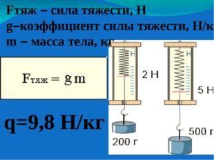 Fтяж – сила тяжести, Н g–коэффициент силы тяжести, Н/кг m – масса тела, кг q=