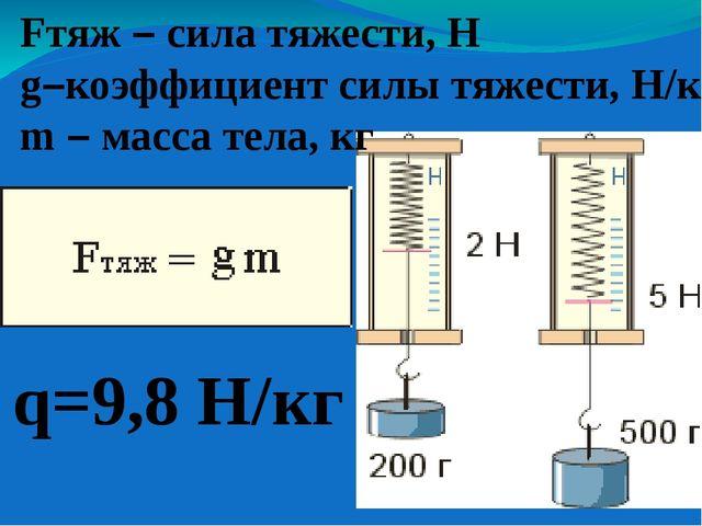 Fтяж – сила тяжести, Н g–коэффициент силы тяжести, Н/кг m – масса тела, кг q=...