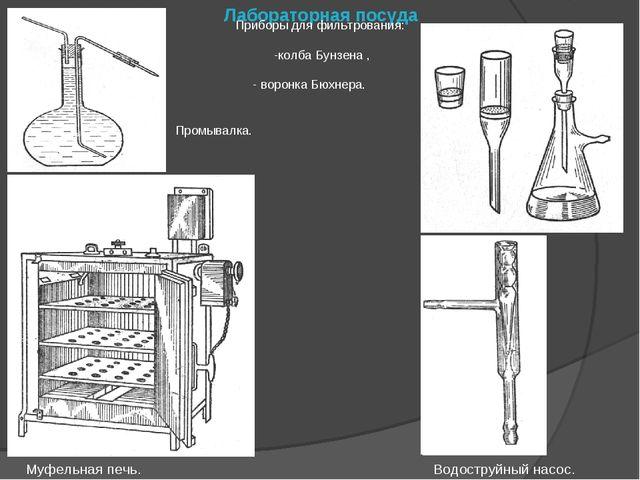 Лабораторная посуда Муфельная печь. Водоструйный насос. Приборы для фильтрова...