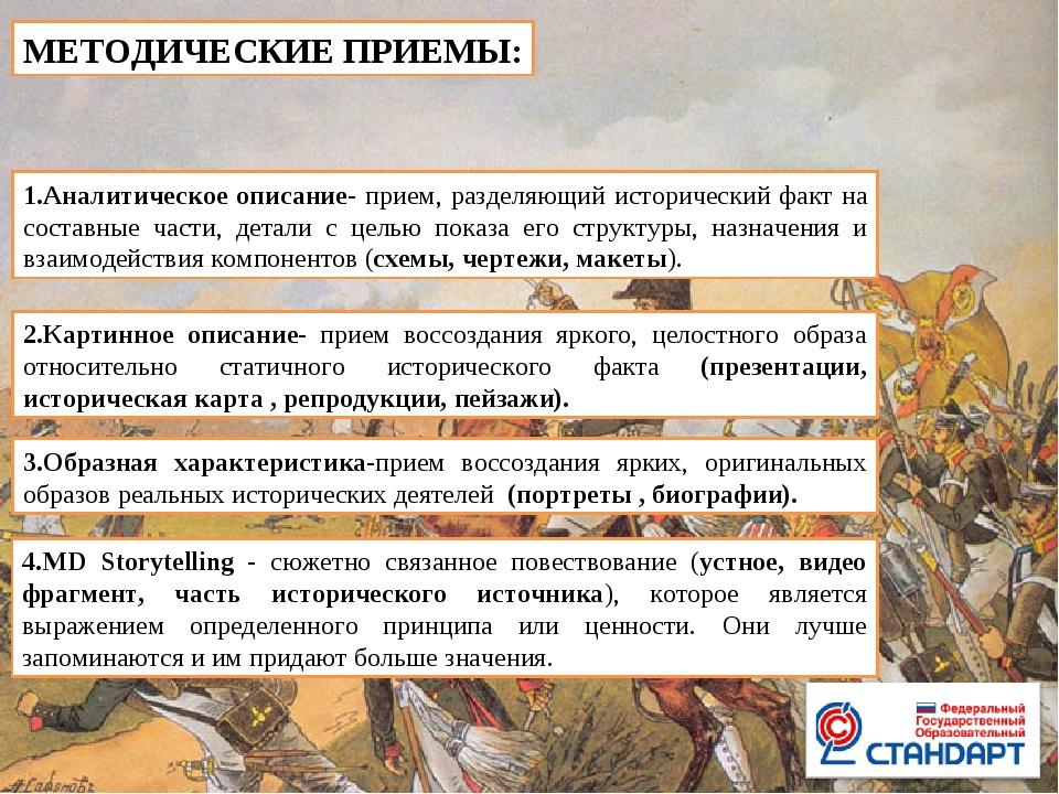 МЕТОДИЧЕСКИЕ ПРИЕМЫ: 1.Аналитическое описание- прием, разделяющий исторически...