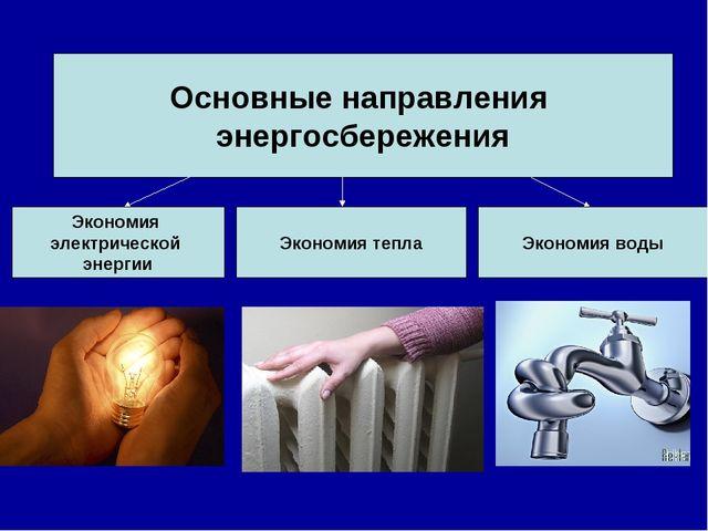 Основные направления энергосбережения Экономия электрической энергии Экономия...