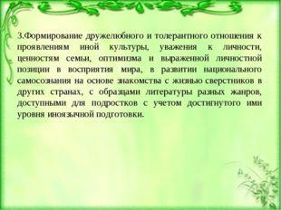 3.Формирование дружелюбного и толерантного отношения к проявлениям иной культ