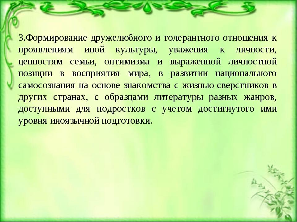 3.Формирование дружелюбного и толерантного отношения к проявлениям иной культ...