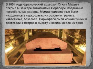 В 1851 году французский археолог Огюст Мариет открыл в Саккаре знаменитый Сер