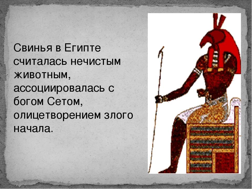 Свинья в Египте считалась нечистым животным, ассоциировалась с богом Сетом, о...