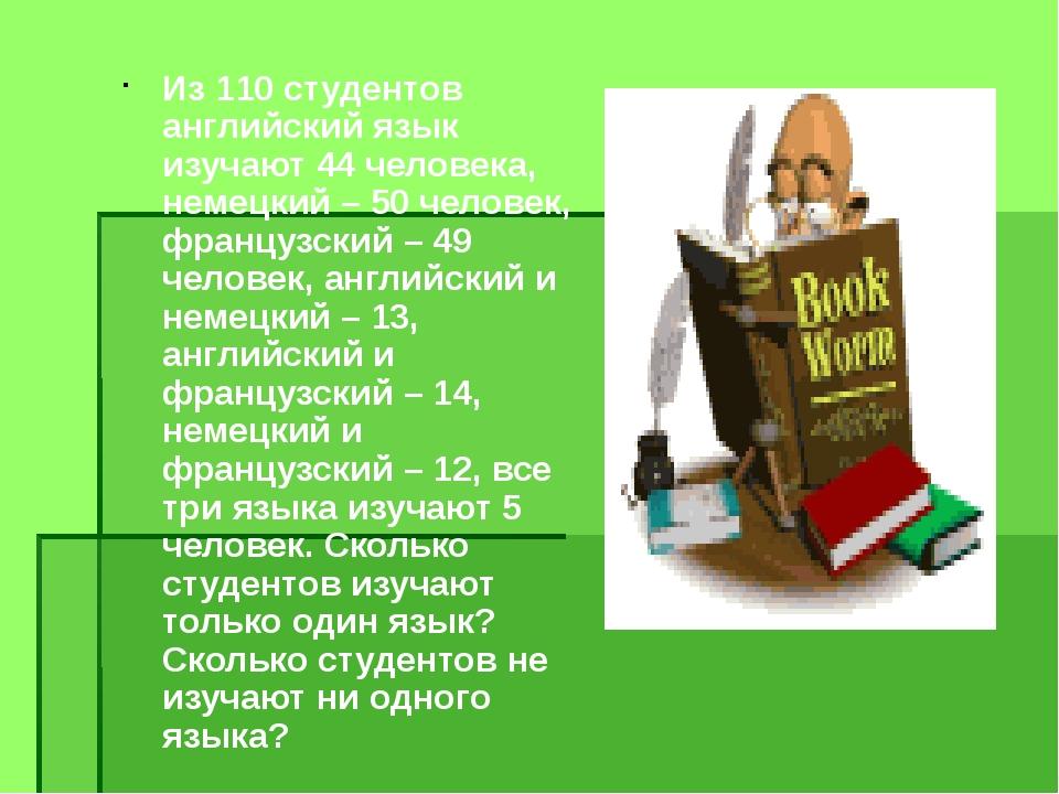Из 110 студентов английский язык изучают 44 человека, немецкий – 50 человек,...